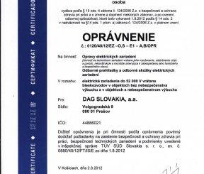 """OPRÁVNENIE na """"Opravy elektrických zariadení, Odborné prehliadky a odborné skúšky elektrických uariadení"""" - TUV SUD Slovakia"""