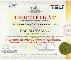 """Certifikát ISO 45001:2018 """"Komplexná stavebná činnosť, Obchodná činnosť v oblasti stavebníctva"""""""