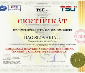 """Certifikát ISO 9001:2015 """"Komplexná stavebná činnosť, Obchodná činnosť v oblasti stavebníctva"""""""