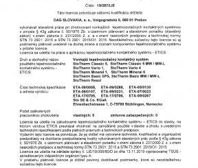 Licencia 19/287/LIE na zhotovenie vonkajších tepelnoizolačných kontaktných systémov - TSÚS