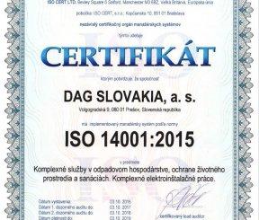 "Certifikát ISO 14001:2015 ""Komplexné služby v odpadovom hospodárstve, ochrane životného prostredia a sanáciách"" - ISO CERT LTD."