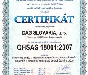 "Certifikát OHSAS 18001:2007 ""Komplexné služby v odpadovom hospodárstve, ochrane životného prostredia a sanáciách"" - ISO CERT LTD"