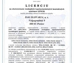 Licencia L 236/20/E-T na zhotovovanie vonkajších tepelnoizolačných kontaktných sytémov (ETICS)