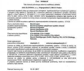 Licencia 17/015/LIE na zhotovenie vonkajších tepelnoizolačných kontaktných systémov - TSÚS