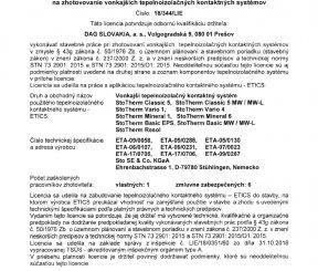Licencia 18/344/LIE na zhotovenie vonkajších tepelnoizolačných kontaktných systémov - TSÚS