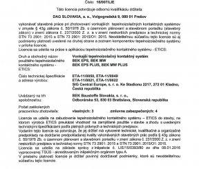 Licencia 17/014/LIE na zhotovenie vonkajších tepelnoizolačných kontaktných systémov - TSÚS