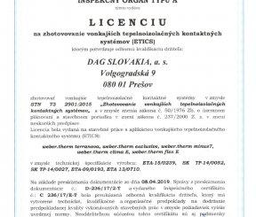 Licencia L 236/17/E-T na zhotovovanie vonkajších tepelnoizolačných kontaktných sytémov (ETICS)