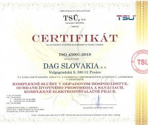"""Certifikát ISO 45001:2018 """"Komplexné služby v odpadovom hospodárstve, ochrane životného prostredia a sanáciách"""""""