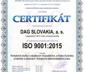"Certifikát ISO 9001:2015 ""Komplexné služby v odpadovom hospodárstve, ochrane životného prostredia a sanáciách"" - ISO CERT LTD."