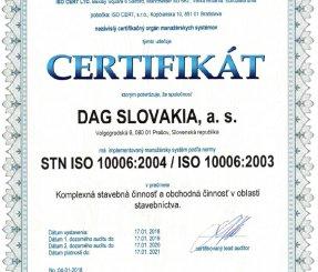 """Ceritifikát ISO 10006:2004 """"Komplexná stavebná činnosť, Obchodná činnosť v oblasti stavebníctva"""""""