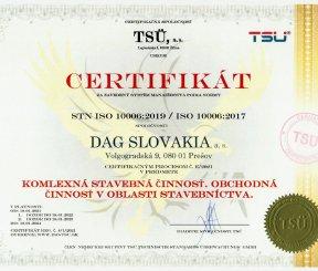 """Ceritifikát ISO 10006:2019 """"Komplexná stavebná činnosť, Obchodná činnosť v oblasti stavebníctva"""""""