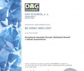 """Certifikát BS OHSAS 18001:2007 """"Komplexná stavebná činnosť, Obchodná činnosť v oblasti stavebníctva"""" - LL-C Czech Republic"""