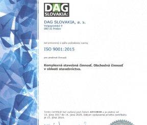 """Certifikát ISO 9001:2015 """"Komplexná stavebná činnosť, Obchodná činnosť v oblasti stavebníctva"""" - LL-C Czech Republic"""