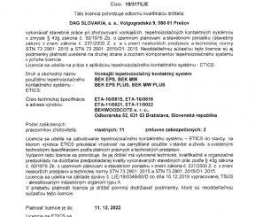 Licencia 19/317/LIE na zhotovenie vonkajších tepelnoizolačných kontaktných systémov - TSÚS