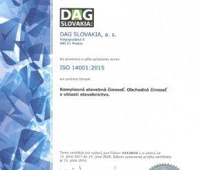 """Certifikát ISO 14001:2015 """"Komplexná stavebná činnosť, Obchodná činnosť v oblasti stavebníctva"""" - LL-C Czech Republic"""