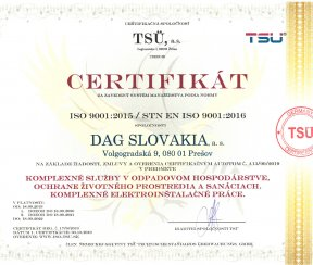 """Certifikát ISO 9001:2015 """"Komplexné služby v odpadovom hospodárstve, ochrane životného prostredia a sanáciách"""""""