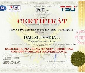 """Certifikát ISO 14001:2015 """"Komplexná stavebná činnosť, Obchodná činnosť v oblasti stavebníctva"""""""