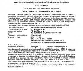 Licencia 21/166/LIE na zhotovenie vonkajších tepelnoizolačných kontaktných systémov - TSÚS