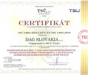 """Certifikát ISO 14001:2015 """"Komplexné služby v odpadovom hospodárstve, ochrane životného prostredia a sanáciách"""""""